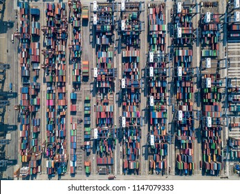 Aerial view in Container Center, Hong Kong