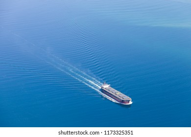 Aerial view of a container ship.