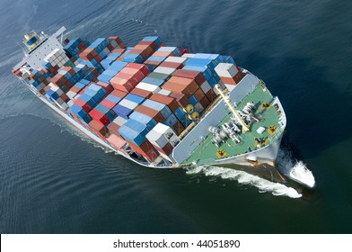 An aerial view of a container ship.