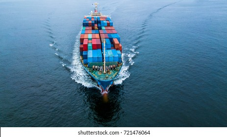 Aerial view container ship of business freight import export logistic and transportation by container cargo ship.