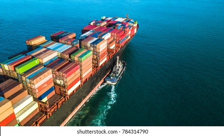 Aerial view container ship business import export logistic and transportation of international by container cargo ship in the open sea, Marine cargo freight shipping.