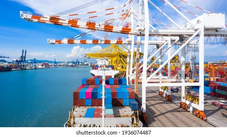 Aerial view container ship, import export commerce global business trade logistic and transportation of International by container ship boat, Cargo freight shipping maritime sea port terminal. - Shutterstock ID 1936074487