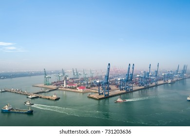 aerial view of container terminal in port of tianjin, busy modern logistics harbor