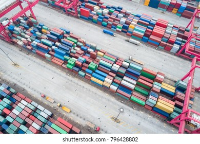 aerial view of container yard, modern logistics background