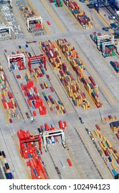 aerial view of containers stacking in Durban harbour, South Africa