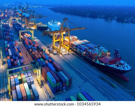 aerial view containers yard port congestion stock photo edit now