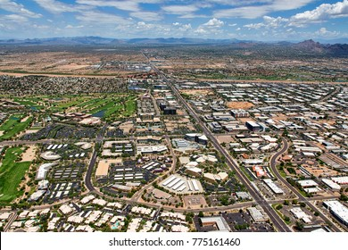 Aerial view of continuing growth of North Scottsdale, Arizona looking north from near the Scottsdale Airport