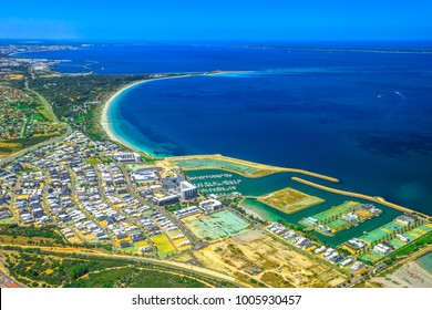 Aerial view of Coogee suburb of Perth in Western Australia. Scenic flight over Boat Harbour, near Fremantle of Perth city in Australia.