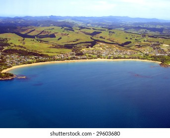 Aerial view of Coopers Beach, Northland, New Zealand
