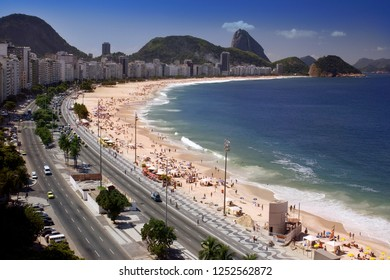Aerial view of Copacabana Beach in the city of Rio de Janeiro in Brazil in South America. Sugarloaf Mountain can be seen in the background.