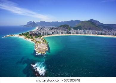 Aerial view of Copacabana beach and Ipanema beach, Rio de Janeiro