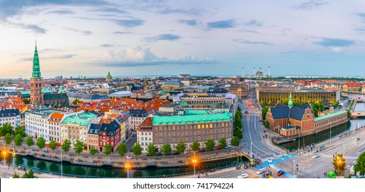 Aerial view of Copenhagen from Christiansborg slot castle.
