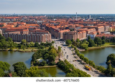 Aerial view of Copenhagen city. Christianshavn district with living blocks.