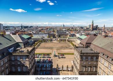 Aerial view of Copenhagen, Denmark in a sunny day