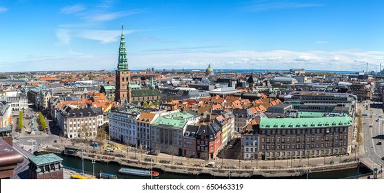 Aerial view of Copenhagen, Denmark in a sunny day