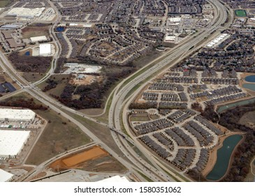 Aerial view of the Coppell area of Dallas, Texas, with Sam Rayburn Tollway