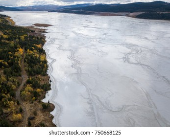 Aerial view of Copper Mine Tailing pond in the interior British Columbia, Canada.