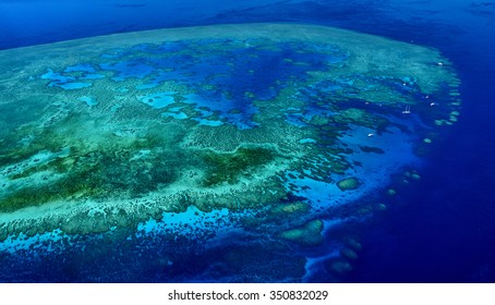 aerial view coral outcrop great barrier reef Queensland