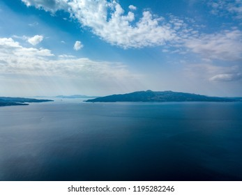 Aerial view of Corfu, Greece on horizon (Photo taken from Saranda, Albania)