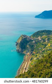 aerial view of corniglia village which is part of the famous cinque terre region in Italy.
