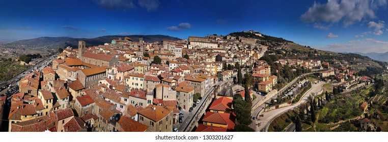 Aerial view of Cortona, medieval town in Tuscany, Italy