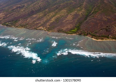 Aerial View of the  cost of Molokai Island , Hawaii, USA.