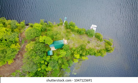 Aerial view of Cottage life in the lakes, Canada
