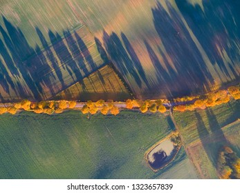 Aerial view of country road with colorful maple trees through the hilly terrain during the autumn season, Mazury, Poland