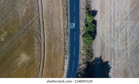 Aerial view of a country road in England