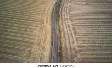 Aerial view of a country road in the English countryside