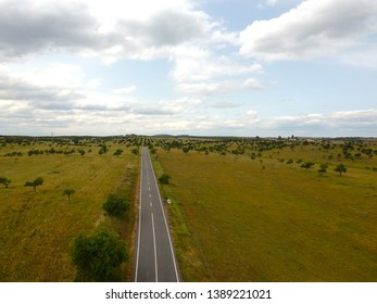 Aerial view of a country road in spring with a blue sky in background.