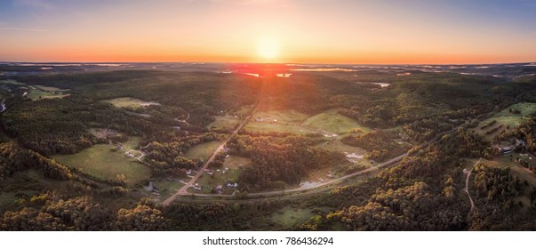 Aerial View Country Road Sunrise