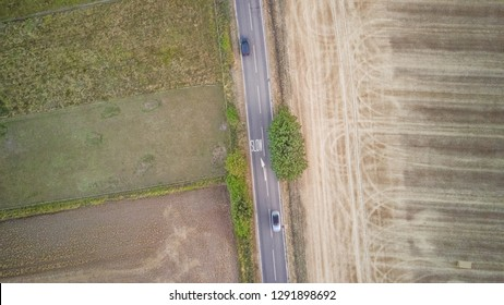 Aerial view of a country road in the UK