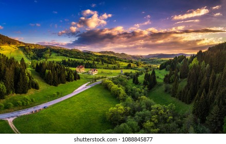 Aerial view of countryside around the village of Telgart in Slovakia at sunset.