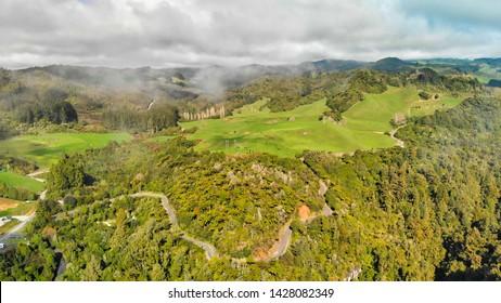 Aerial view of countryside around Waitomo, New Zealand.