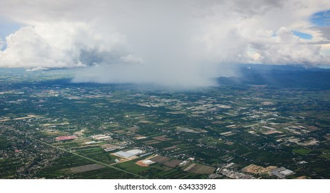 Aerial view of the countryside in Chiang Mai, Thailand. Chiang Mai is both a natural and cultural destination in Asia.