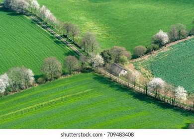 Aerial view of countryside in the department of Orne in France