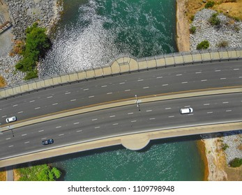 Aerial view of a countryside freeway