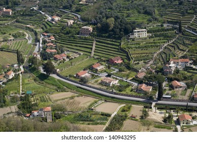 The aerial view of countryside in hilly Liguria region of Italy