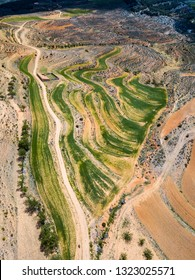 Aerial view of the countryside outside Zaragoza in Spain.