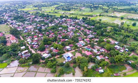 Aerial view of the countryside in thailand.
