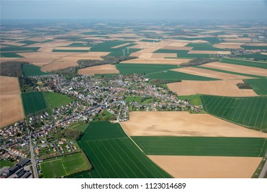 aerial view of countryside and wind turbines at Chaulnes in the department of Somme in France