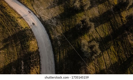 Aerial view of couple of cyclist