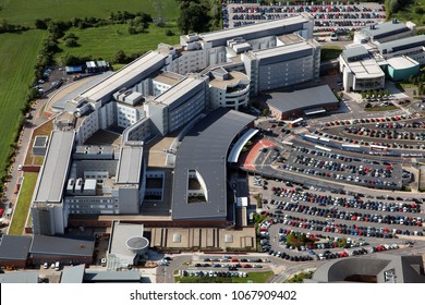 aerial view of Coventry hospital in the Midlands, UK