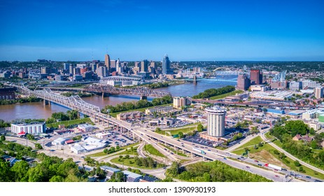 Aerial View of Covington Kentucky and Downtown Cincinnati from Devou Park