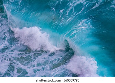 Aerial view of crashing waves