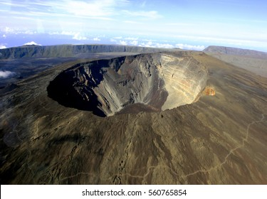Aerial view of a crater of La Reunion island, French oversea island (Indian Ocean)