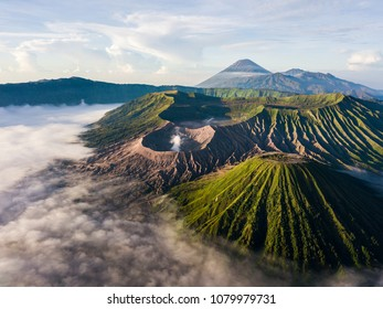 Aerial view of crater Mount Bromo during sunrise scene at Bromo tengger semeru national park, East Java, Indonesia. Panoramic view of active volcano mountain on earth. Aerial photography landscape.