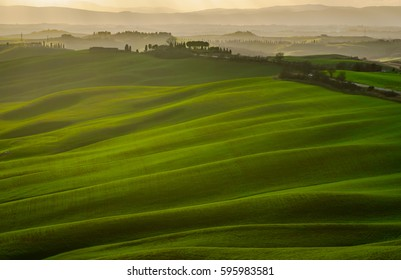 """Aerial view of the """"Crete Senesi"""", near Asciano in Tuscany at sunset"""