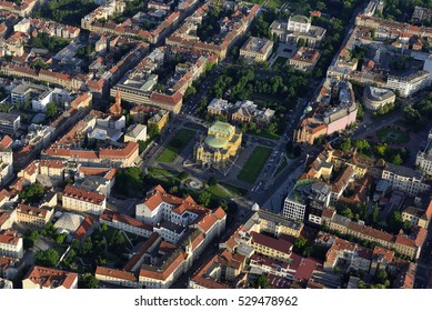 Aerial view of the Croatian National Theater in Zagreb and it's surroundings.